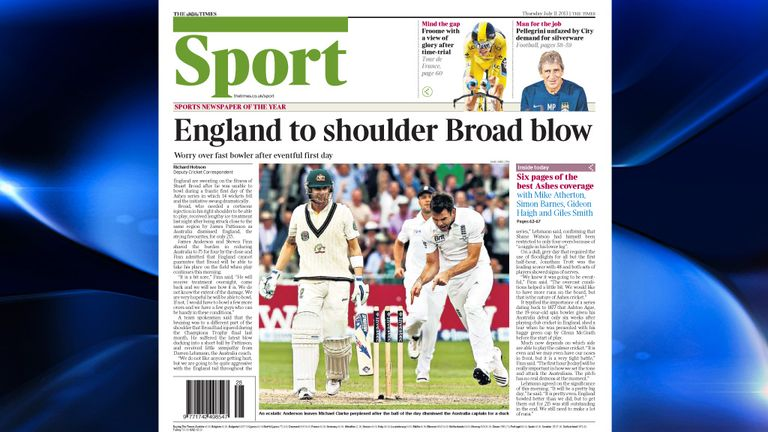 The Times - England are sweating on the fitness of Broad after he was unable to bowl during a frantic first day of the Investec Ashes Test.