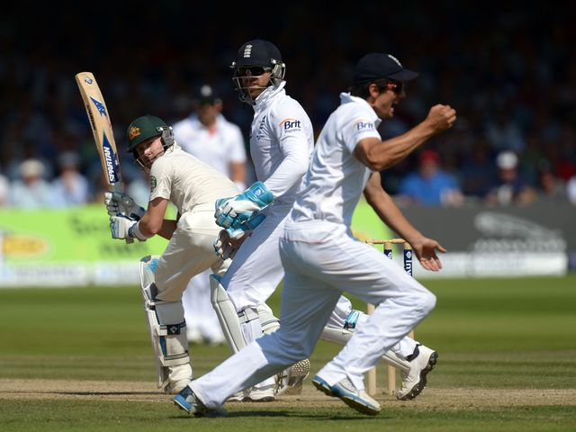 Alastair Cook catches Michael Clarke on day four at Lord's