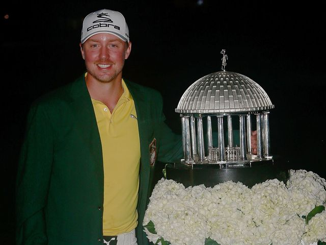 Jonas Blixt with the Greenbrier Classic trophy