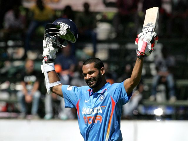 Shikhar Dhawan celebrates his century for India