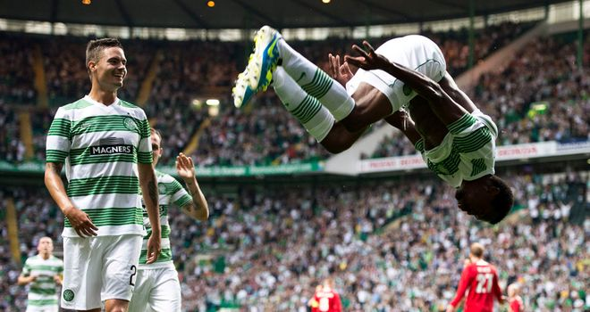 Efe Ambrose: Celtic defender celebrates in style after scoring against Cliftonville