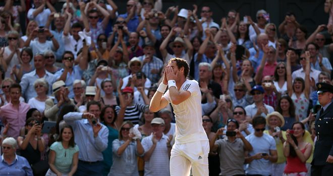 Murray: celebrates in front of an adoring crowd