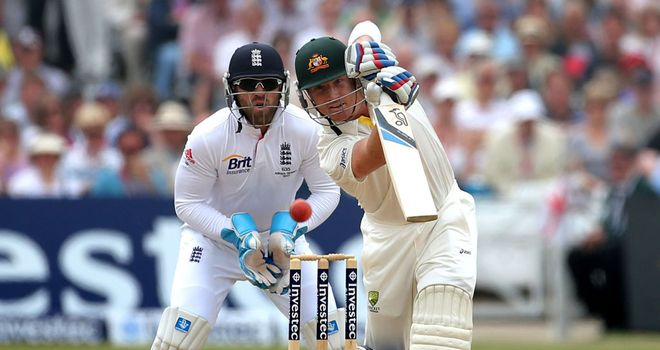 Brad Haddin in action in the first Ashes Test at Trent Bridge