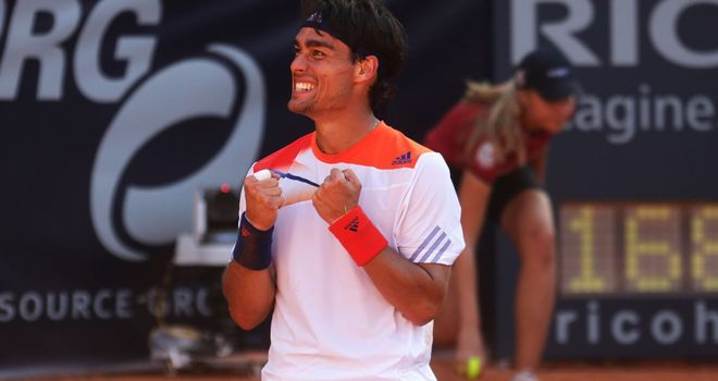 Fabio Fognini celebrates his moment of triumph in Hamburg