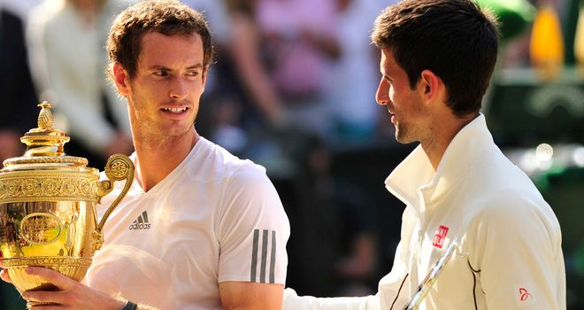 Novak Djokovic and Andy Murray following Sunday's Wimbledon final
