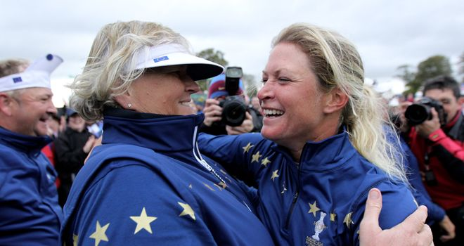 Laura Davies (left): Has been a stalwart of the European Solheim Cup team