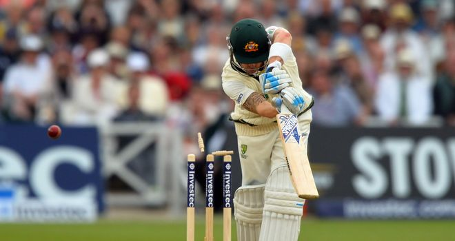 Michael Clarke: Australia captain bowled by James Anderson