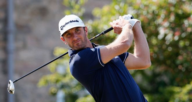 Dustin Johnson in practice action at Muirfield