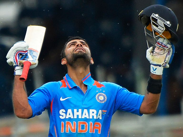 Virat Kohli celebrates his century for India
