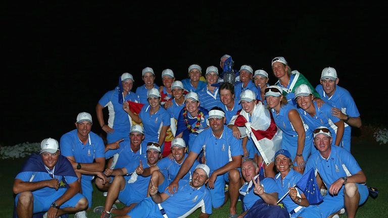 The Europe team celebrates this year's Solheim Cup victory