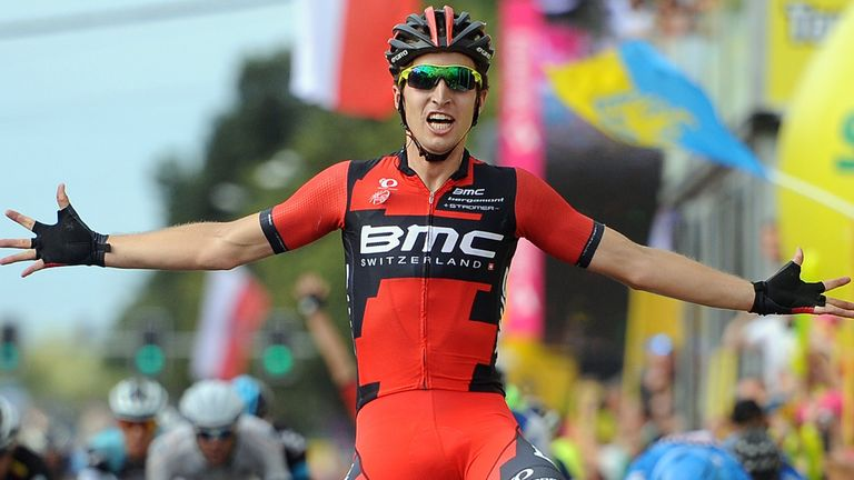 Taylor Phinney hung on by just metres to win stage four