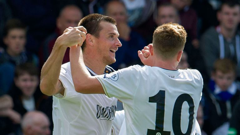 Lee McCulloch (l): Celebrates his goal against Stranraer