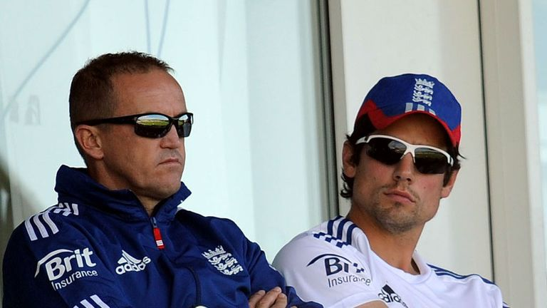 Andy Flower (left) paid tribute to the efforts of Alastair Cook
