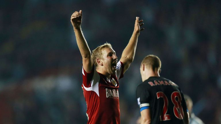 Scott Wagstaff celebrates after scoring Bristol City's winner against Crystal Palace