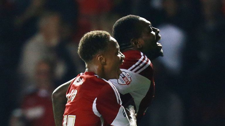 Jay Emmanuel-Thomas (r): On target in Bristol City win