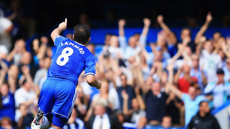 Frank Lampard: The midfielder celebrates netting Chelsea's second goal