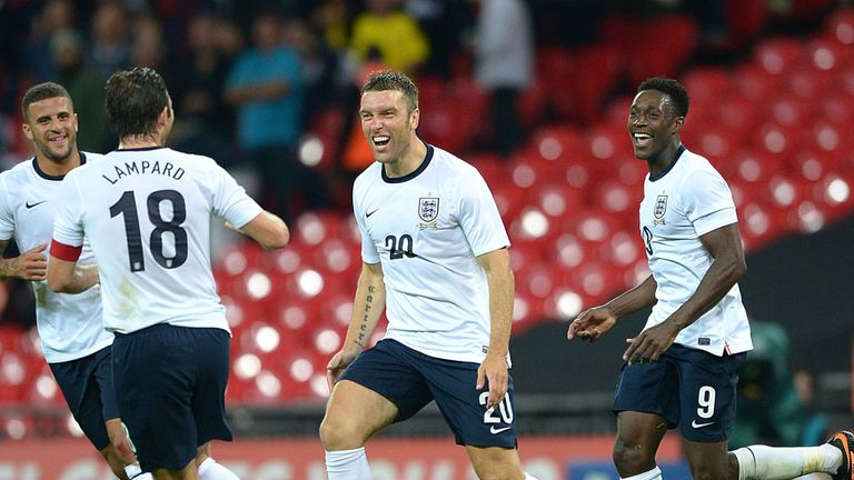 Rickie Lambert: Celebrates with his England team-mates