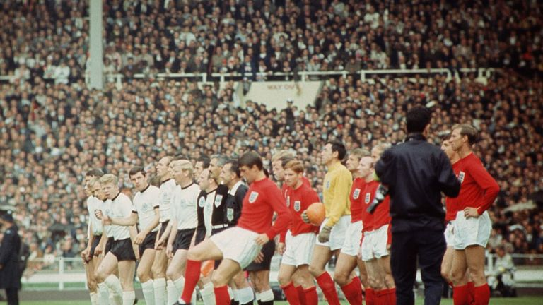 The two teams prior to the 1966 World Cup Final