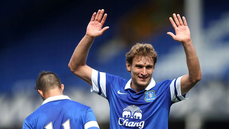 Nikica Jelavic celebrates scoring Everton's opening goal against Real Betis