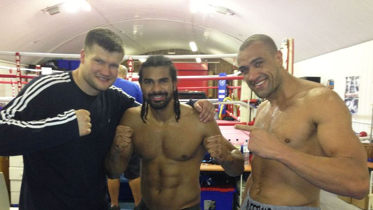 Kicking off: but Haye and his sparring partners keep their feet on the ground