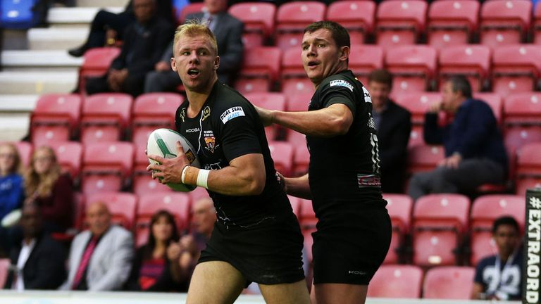Aaron Murphy (L): Scored Huddersfield's first try of the match