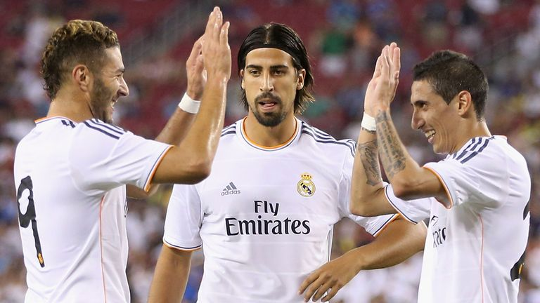 Karim Benzema: Celebrates with Sami Khedira and Angel Di Maria