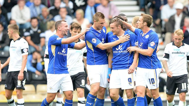 Leicester: Celebrate their first-half winner