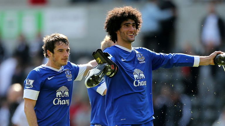 Leighton Baines and Maroune Fellaini: United have seen £28m double bid fail