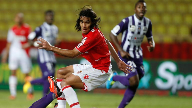 Monaco's Falcao vies with Toulouse's Uros Spajic