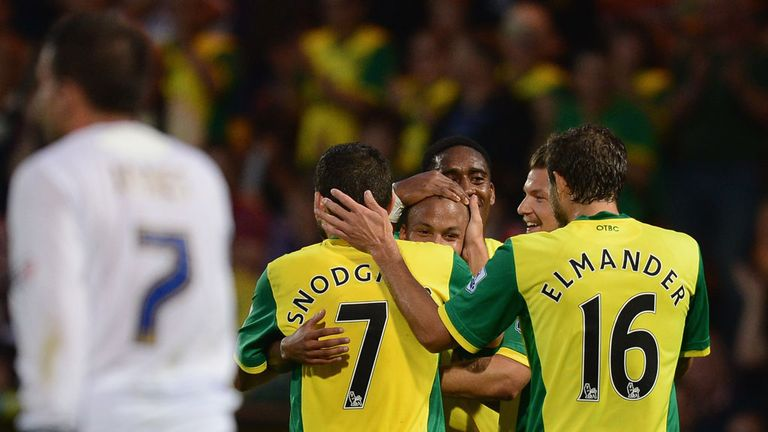 Martin Olsson: Swede celebrates after putting Norwich in front against Bury