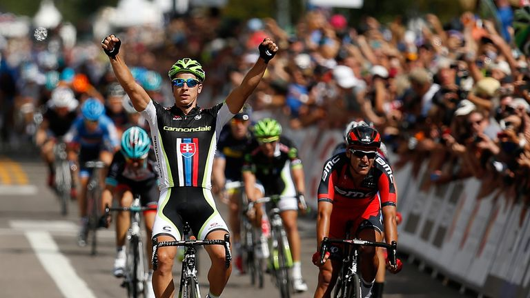 Peter Sagan celebrates his sprint success in Aspen