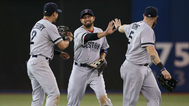 Shane Victorino (c) is congratulated by Jacoby Ellsbury and Jonny Gomes