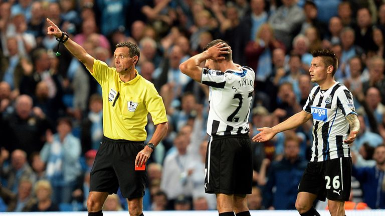 Steven Taylor: Sent off in Newcastle's 4-0 defeat at Manchester City