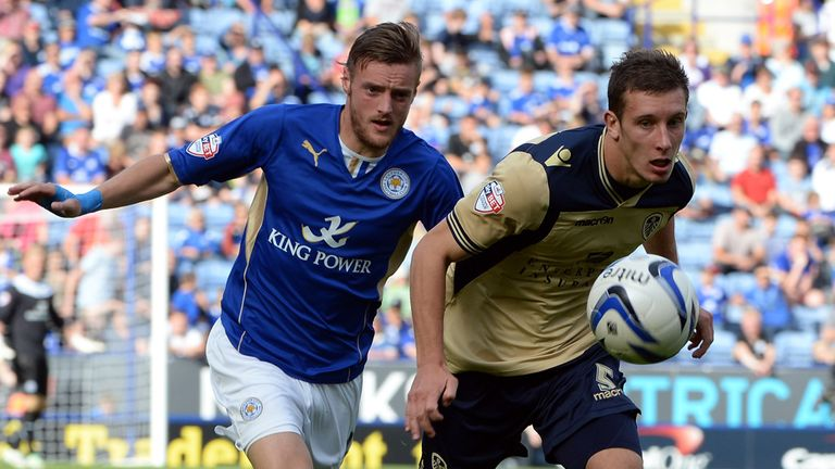 Jason Pearce: Reaches the ball ahead of Jamie Vardy