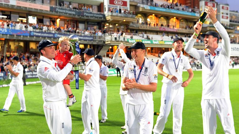 The Oval: Celebrations in the England camp on Sunday