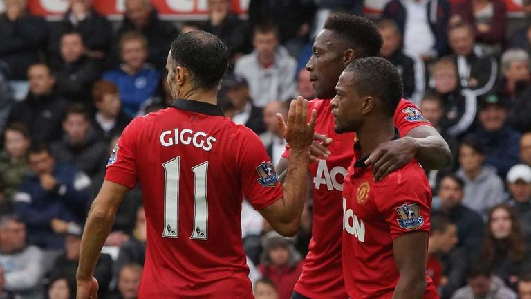 Danny Welbeck is congratulated by Patrice Evra and Ryan Giggs