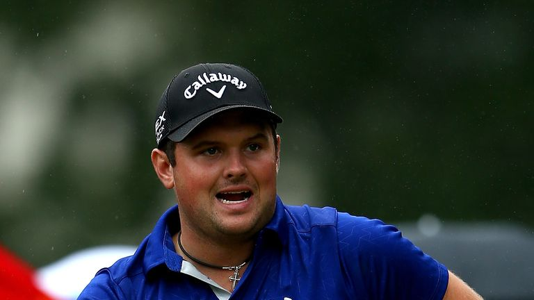 Patrick Reed reacts to a shot on the 3rd hole during the third round of the Wyndham Championship