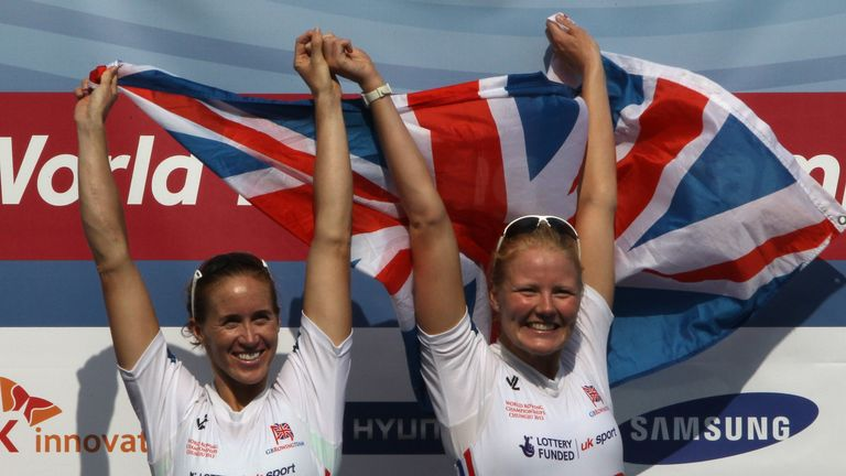Golden greats: Helen Glover and Polly Swann of Great Britain pose after taking gold in the women's pair in Chengdu