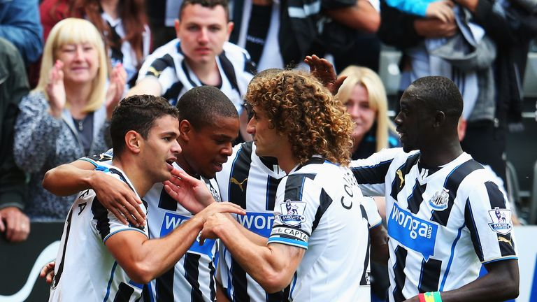 Hatem Ben Arfa: Celebrates scoring Newcastle's first goal of the season