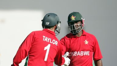 Hamilton Masakadza (right): Zimbabwe batsman congratulated by Brendan Taylor on his 20th ODI half-century
