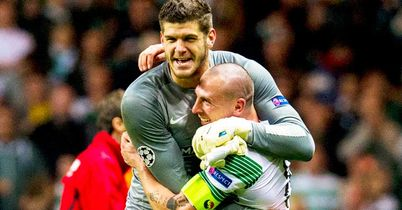 Fraser Forster: Celtic goalkeeper celebrates with captain Scott Brown