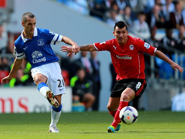 Leon Osman in action for Everton.