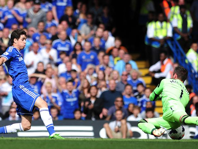 Oscar scores the opening goal for Chelsea