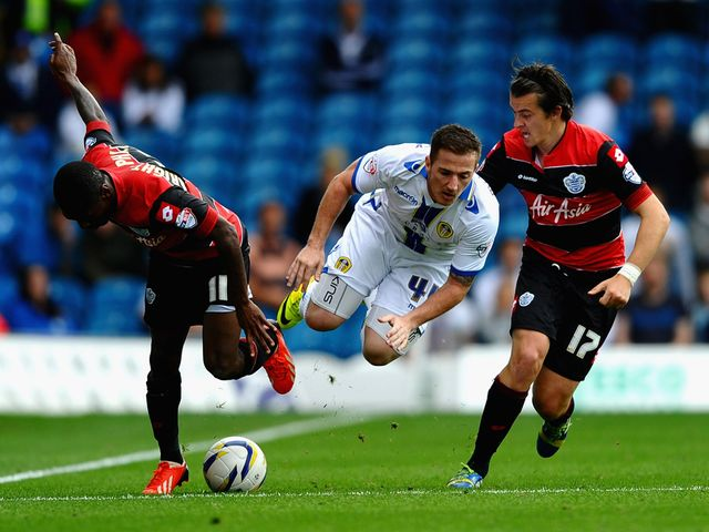 Ross McCormack takes a tumble.