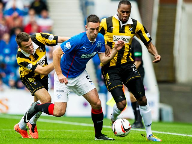 Lee Wallace in action for Rangers.
