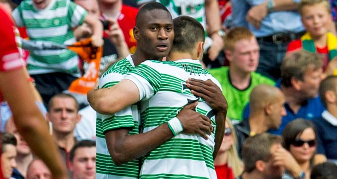 Amido Balde celebrates winner with Tony Watt