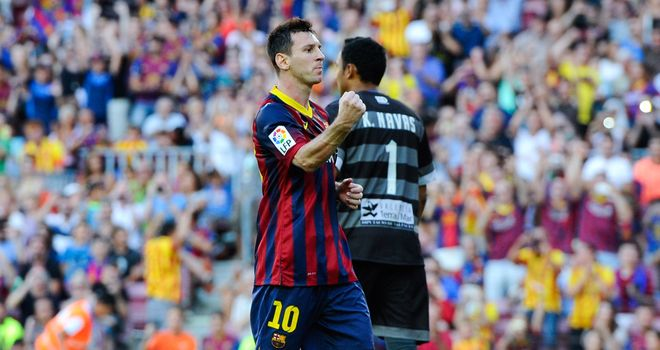 Messi celebrates after netting Barca's fifth