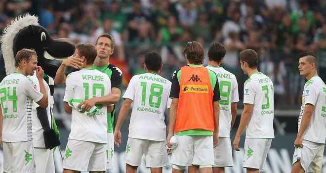 Borussia Monchengladbach celebrate against Hannover