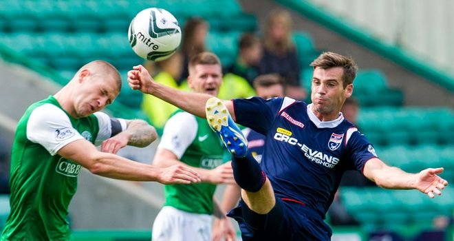 James Collins: Hibernian man battles with Ross County's Stuart Kettlewell