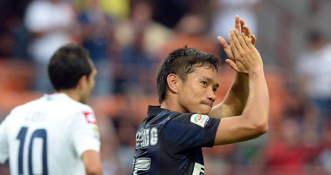 Yuto Nagatomo celebrates his goal for Inter Milan